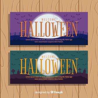 Platte ontwerp van paars en greenn halloween banners