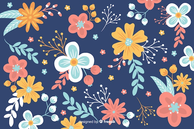 Platte ontwerp van prachtige bloemen achtergrond