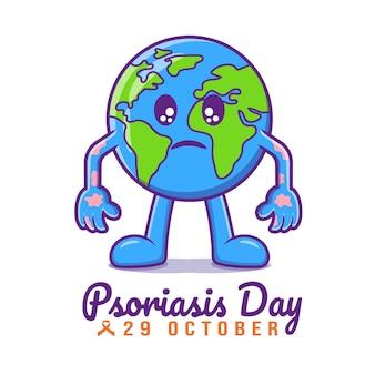 Platte ontwerp van psoriasis dag geïsoleerde premium vector