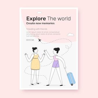Platte ontwerp van reisposter