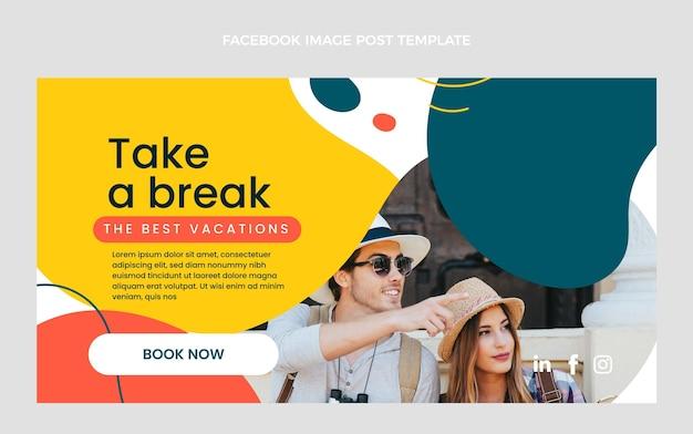 Platte ontwerp van reizen facebook post