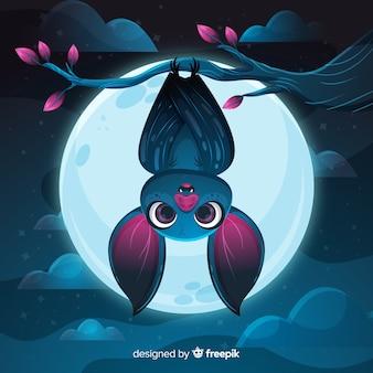Platte ontwerp van schattige halloween vleermuis