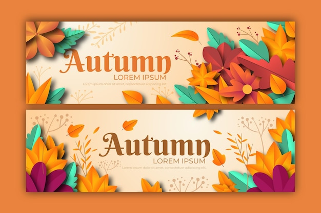 Platte ontwerp van sjabloon voor herfstbanner