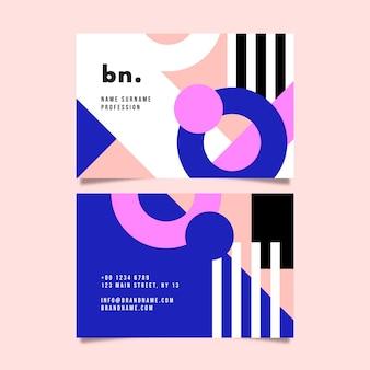 Platte ontwerp van sjabloon voor visitekaartjes met abstracte vormen