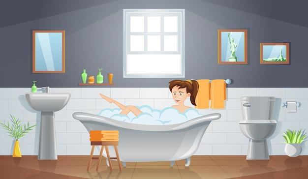 Platte ontwerp van stripfiguur van vrouw neemt bad
