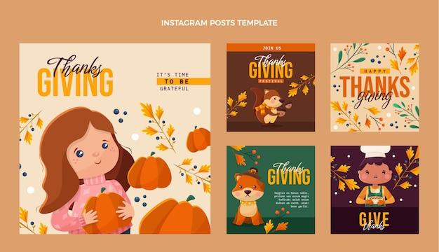 Platte ontwerp van thanksgiving ig post