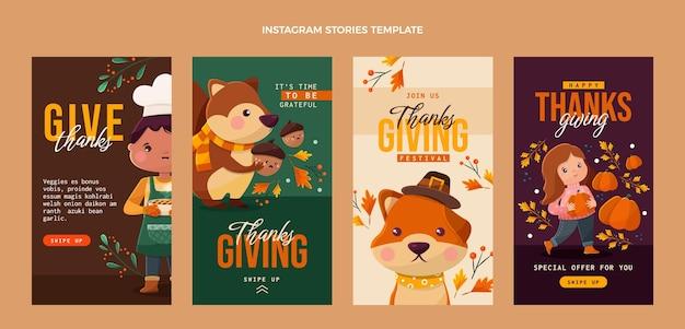 Platte ontwerp van thanksgiving ig-verhalen