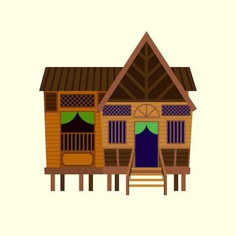 Platte ontwerp van traditioneel maleis vintage dorpshuis