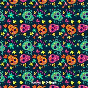 Platte ontwerp van van dia de muertos patroon