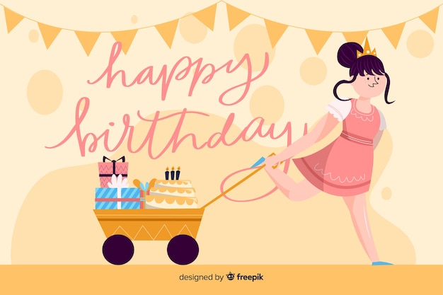 Platte ontwerp van verjaardag uitnodiging sjabloon
