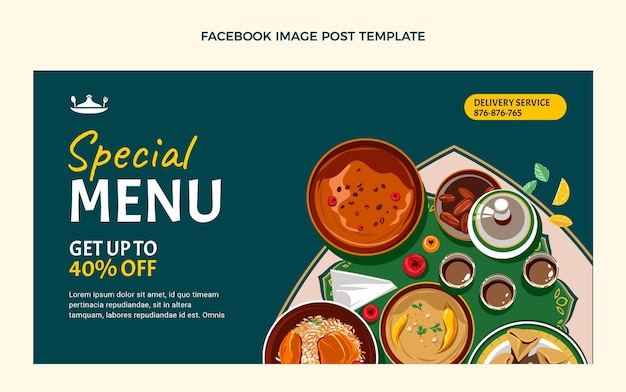 Platte ontwerp van voedsel facebook post