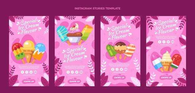 Platte ontwerp van voedsel ig verhalen