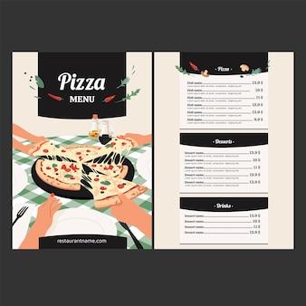 Platte ontwerp van voedsel menusjabloon