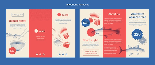 Platte ontwerp van voedselbrochure