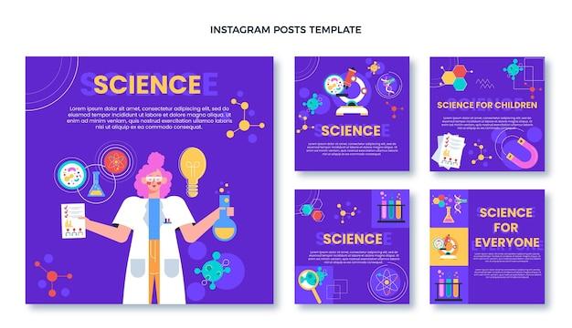 Platte ontwerp van wetenschap ig post