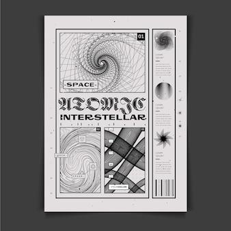 Platte ontwerp van y2k poster