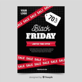 Platte ontwerp van zwarte vrijdag folder sjabloon