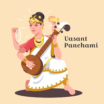 Platte ontwerp vasant panchami festival illustratie