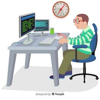 Platte ontwerp vector mannelijke coder werken