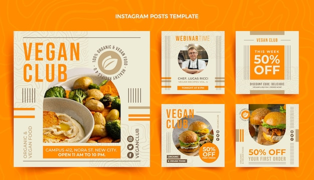 Platte ontwerp veganistisch eten instagram post
