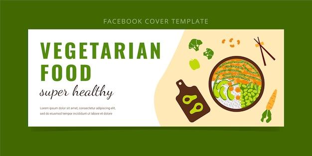 Platte ontwerp vegetarisch eten facebook voorbladsjabloon