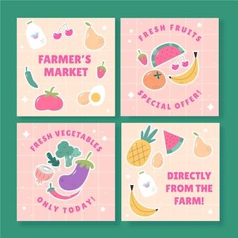Platte ontwerp vegetarisch eten instagram-berichten