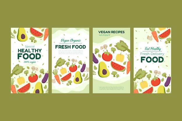 Platte ontwerp vegetarisch eten instagramverhalen
