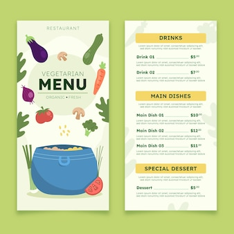 Platte ontwerp vegetarisch menu