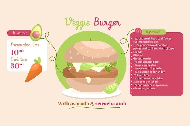 Platte ontwerp vegetarisch voedselrecept