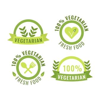 Platte ontwerp vegetarische badges collectie
