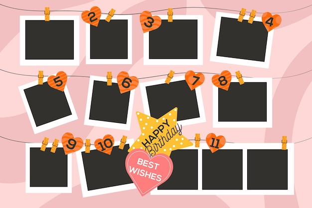 Platte ontwerp verjaardag collage frame pack