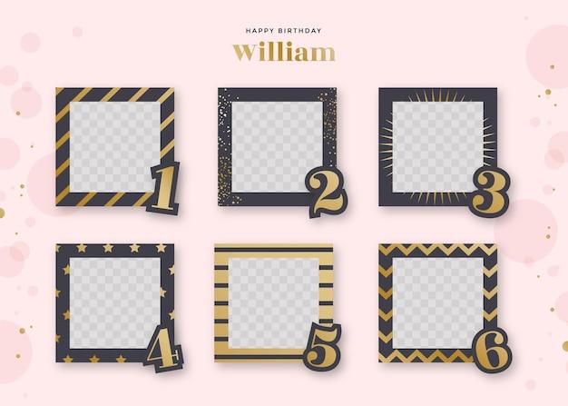 Platte ontwerp verjaardag collage frames-collectie
