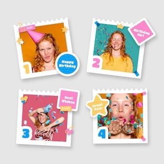 Platte ontwerp verjaardag collage frames instellen