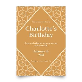 Platte ontwerp verjaardag uitnodiging sjabloon