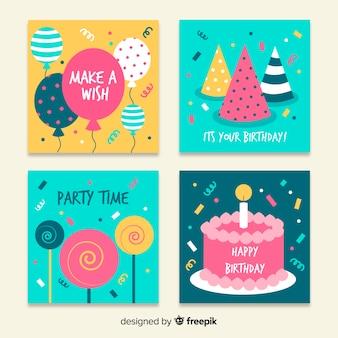 Platte ontwerp verjaardagskaart collectie