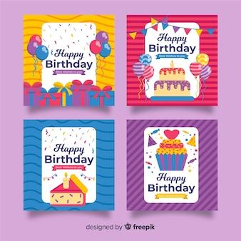 Platte ontwerp verjaardagskaart pack
