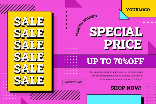 Platte ontwerp verkoop achtergrond met speciale korting