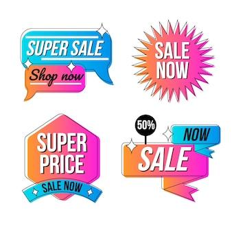 Platte ontwerp verkoop badges collectie