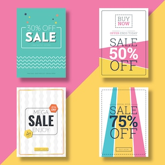 Platte ontwerp verkoop flyer & advertentiebanner sjabloon
