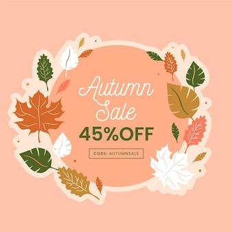 Platte ontwerp verkoop herfst en bladeren