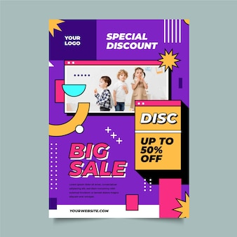 Platte ontwerp verkoop poster met foto