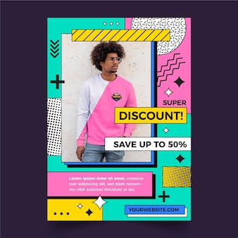 Platte ontwerp verkoop poster sjabloon met foto