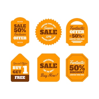 Platte ontwerp verkoop tags pack