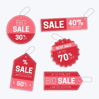 Platte ontwerp verkoop tags set