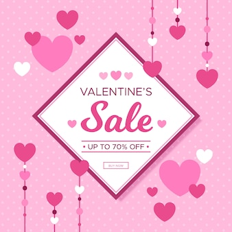 Platte ontwerp verkoopcampagne op valentijnsdag