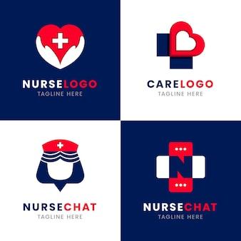 Platte ontwerp verpleegkundige logo-collectie Gratis Vector