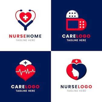 Platte ontwerp verpleegkundige logo-collectie