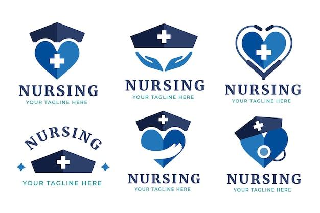 Platte ontwerp verpleegkundige logo sjablonen