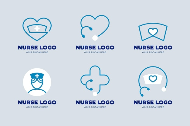 Platte ontwerp verpleegkundige logo sjabloonverzameling