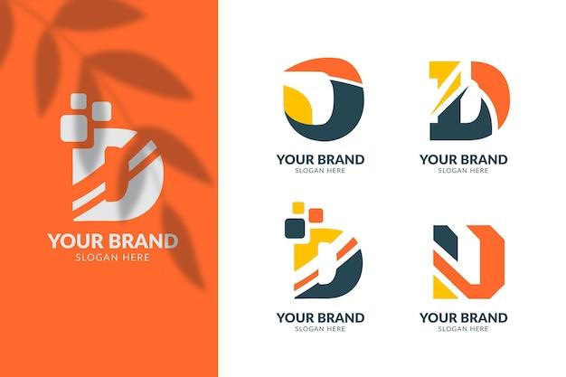 Platte ontwerp verschillende d logo's collectie